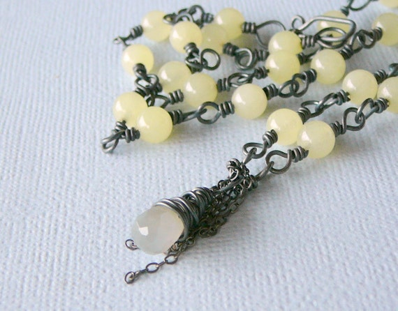 Lemon Jade Necklace, Sterling Silver Chain, Sterling Silver Wire and Moonstone. Creative Jewelry By Beadsme.