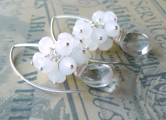 Clear Quartz Briolettes And Matt White Crystal Glass Sterling Silver Wire Wrapped Earrings, Snowdrops And Icicles