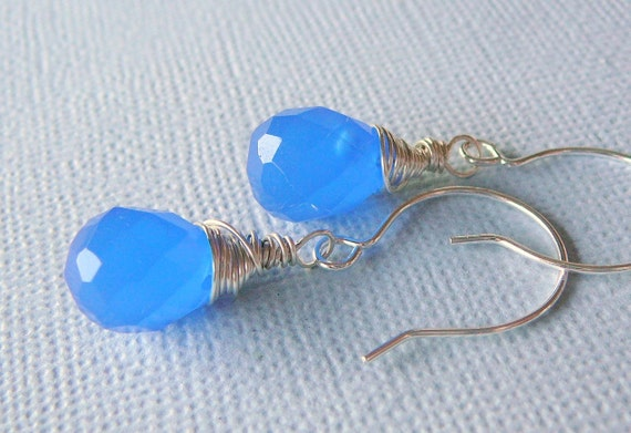 Sterling Silver Wire Wrapped Earrings With Cobalt Blue Chalcedony Briolette, A Breath Of Fresh Air