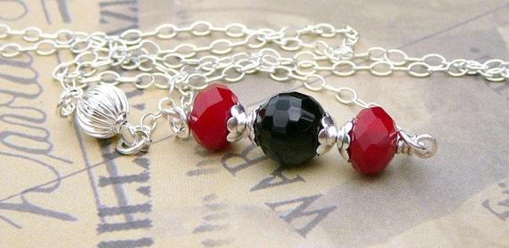Ruby Quartz And Black Agate Necklace
