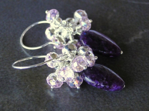 Purple Lepidolite And Sparkling Light Rose Chinese Crystal Cluster Earrings