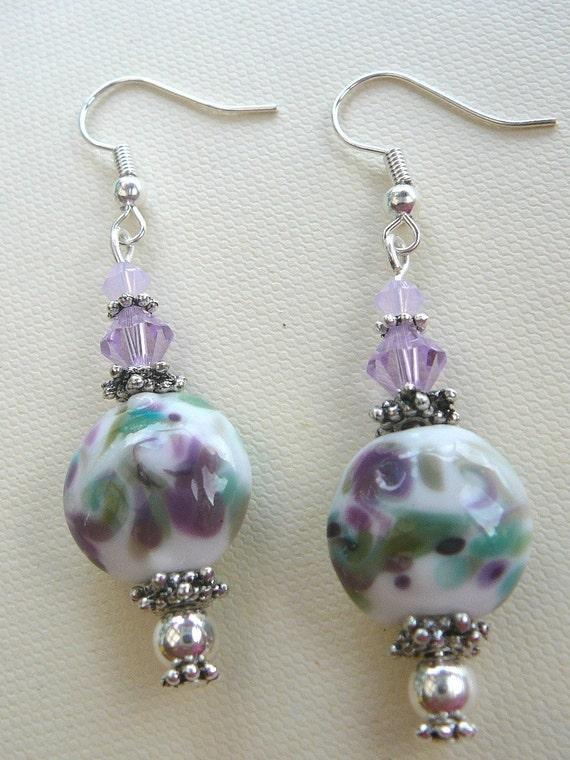 Violet and Green Lampwork Earrings