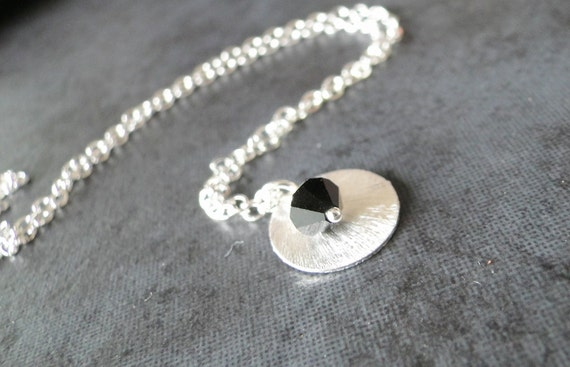 Jet Black Swarovski Crystal With A Sterling Silver Textured Circle On A Sterling Silver Chain, Necklace