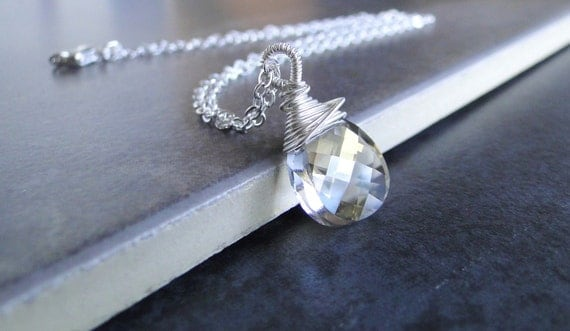 Sparkling Multi Faceted Swarovski Crystal  Briolette, Wire Wrapped Necklace, On A Sterling Silver Chain.