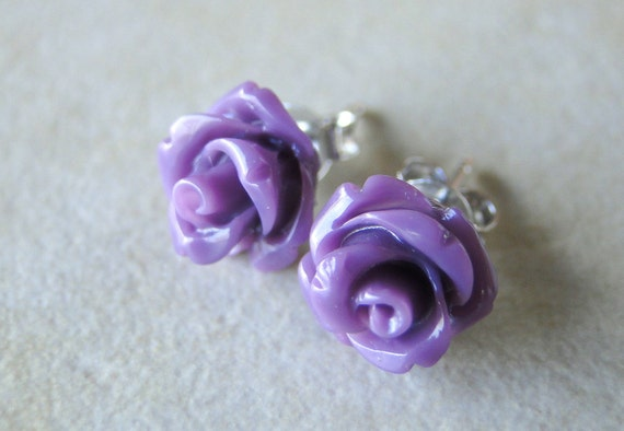 Deep Purple Carved Rose Silver Plated Studs