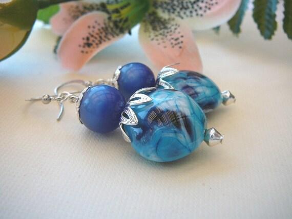Blue Lampwork Earrings Accompanied By Vintage Moonglow Lucite