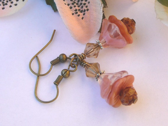 Frosted Pink Flowers - Earrings