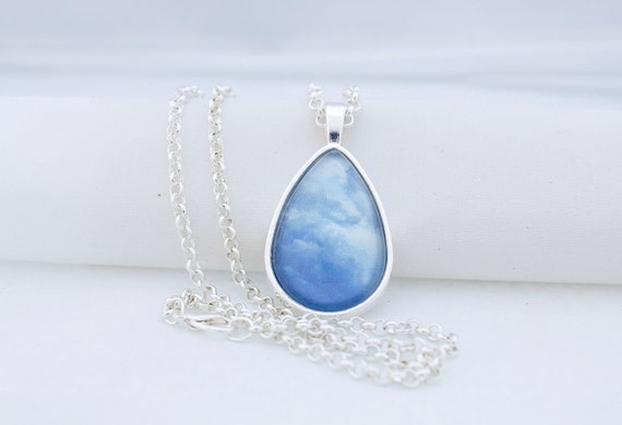 Dreamy Clouds Pendant Necklace, Shiny Silver, Photography, Photo Jewelry, Summer Sky