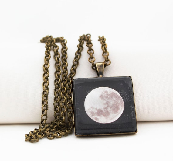 Super Moon Pendant Necklace, Vintage Bronze, Photography, Photo Jewelry