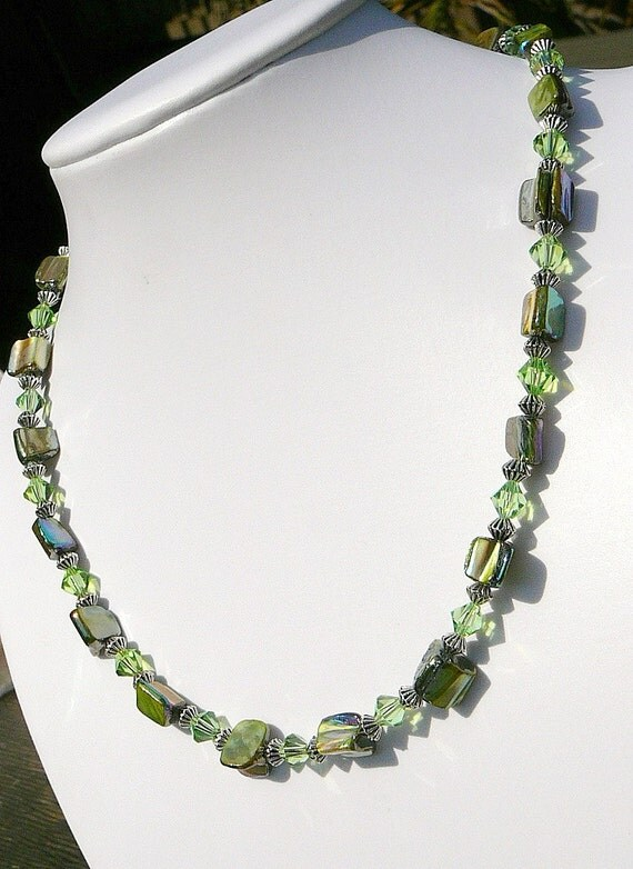 Green Mother Of Pearl With Swarovski Crystals Necklace