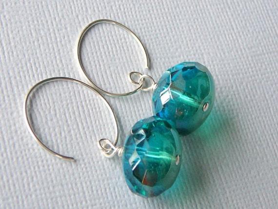 Sparkling Green Czech Glass Earrings
