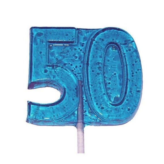 50th Birthday or Anniversary Crystal Barley Lollipops - Celebrate Fifty Years