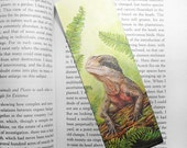 Wildlife Art Bookmark - Water Dragon - canvas printed bookmark  2x6 inches (5x15cm) - Australian lizard animal art print