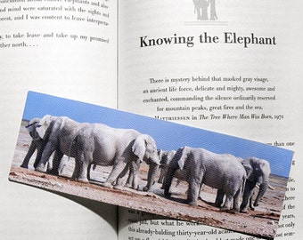 Elephants at Waterhole Bookmark - canvas printed bookmark 2x6 inches (5x15cm)