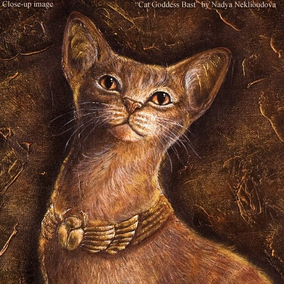 Egyptian Cat Goddess Bast - Canvas Print Reproduction of original painting - 61x42cm (24x16 inches)