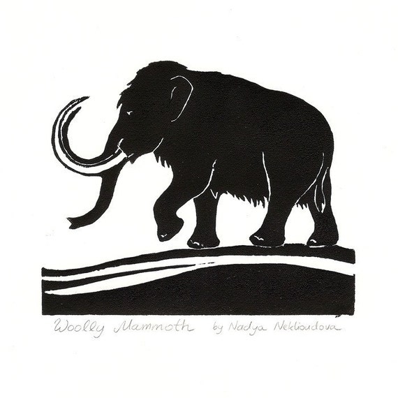 Woolly Mammoth - Original Linocut Print - image size approx. 15x12cm (6x5 inches)