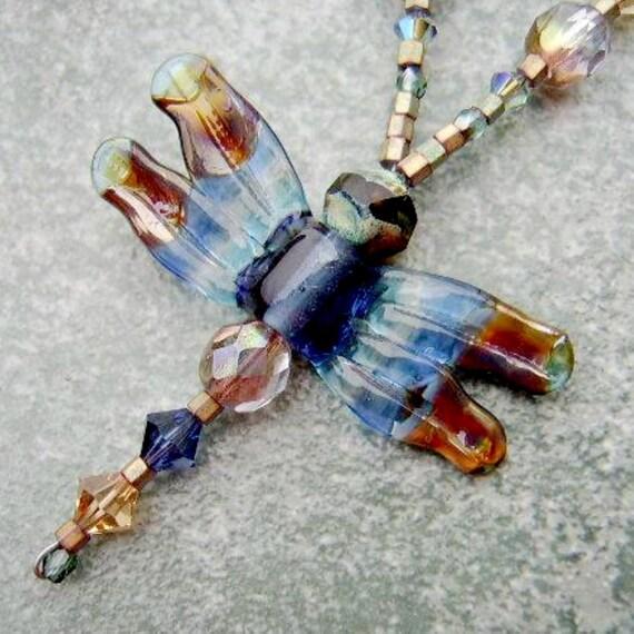 WINTER DRAGONFLY HelensHarvest Lampwork Glass Bead Pendant Handmade Beaded Necklace