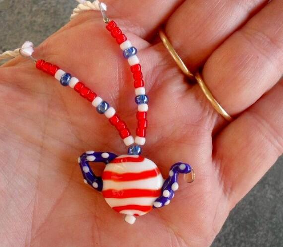 God Bless America HelensHarvest Lampwork Glass Teapot Bead Red, White, Blue Pendant Handmade Necklace