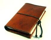 the Phineas Fogg - Tooled Leather Refillable Pocket Moleskine Travel Journal \/ Sketchbook