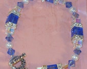 Dark Sapphire Crystal Cube Bracelet