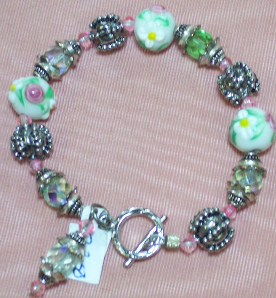 Bracelet with Pink  and Green Lampwork Beads