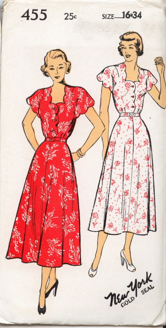 New York  Dress Pattern 1940s Unused Rockablilly Retro Scalloped Neckline