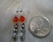 Goddess earrings (Wiccan, pagan) with orange Swarovski crystals