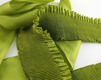 """Pleated Rayon Moire Ribbon Chartreuse Ribbon Work Ribbon Flowers Doll Costuming 1 meter 2"""" wide"""
