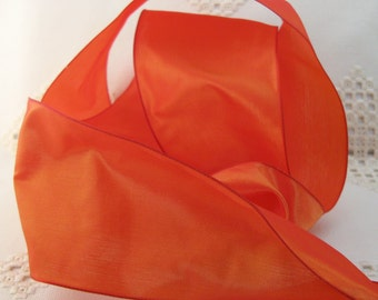 French Wired Ribbon Acetate,  Koi Orange, 3- 1/4 inch wide, New from France