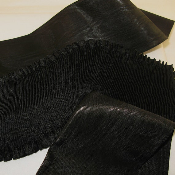 """Rayon Moire Pleated Ribbon Black Knight Ribbon Work Ribbon Flowers Doll Costuming 1 yd 3"""" wide"""