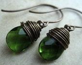 Brass and Glass Mini  Drop Earrings (Emerald)