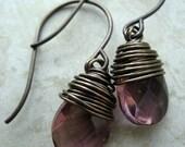 Brass and Glass Mini  Drop Earrings (Satin)