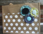 Shabby Polka Dot Jute Tote in Aqua and Navy - Customizeable into other colors