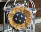 Shabby Fabric Flower Pin & Hairclip in Yellow and Gray