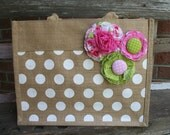 Shabby Polka Dot Jute Tote in Pink and Green - Customizeable into other colors