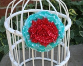 Shabby Fabric Flower Pin & Hairclip in Turquoise and and Red