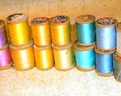 Vintage Wooden spools of thread, pastel colorsSave 20%-use coupon code TwentyOffToday
