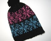 POMPOM Style Hand Knit KIDS Winter Ski Hat Teal Pink Black Snowflake Design