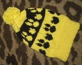 HAND KNIT Kids Size Pompom Beanie Bunny Kitty Design Yellow and Black Winter Ski Snowboard Hat