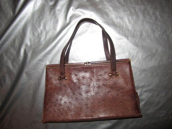 SALE Vintage WALDYBAG Ostrich Purse - 1950's Brown Ostrich Leather Handbag - Made in England
