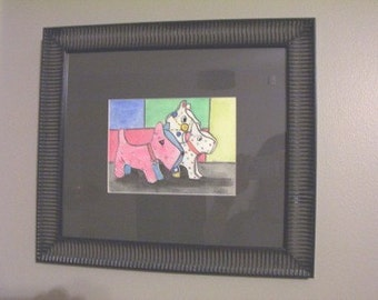 Vinyl Animals on Parade framed original watercolor