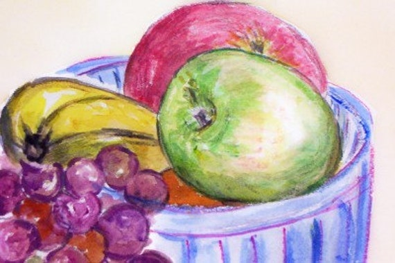 ORIGINAL watercolor painting FUNKY FRUIT BOWL aquapasto Shannon Davis SALE