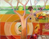 Harvest tree mixed media painting - LIMITED EDITION - Day Three