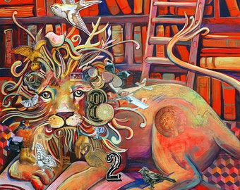 Library Lion 12x12 print - neon oranges, books, book lovers, golds, reading