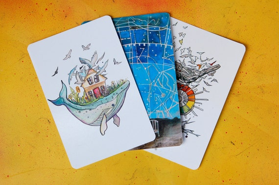 Set of three original artwork postcards - Whale, Birds, and Constellation artwork