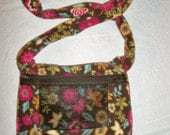 Brown and Multicolored Floral Fleece Sugar Glider and Small Rodent Carrier - Free Shipping