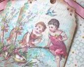 Bird Nest Tags - Vintage Bluebird tags -Secret Nest, Children, Bluebird - Set of 6
