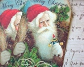 Vintage Santa Tags - Vintage Christmas Tags - Woodland Santa Gift Tag - Set of 4