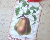 Christmas Tags - French Christmas Pears Tags, Red, Gold, Joyeux Noel - Set of 3