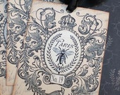 French Tags - Bee and Crown Tags - Vintage Paris Flea Market Bee Tags - Set of 3